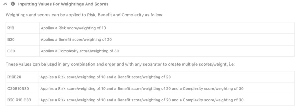 Custom scoring sets